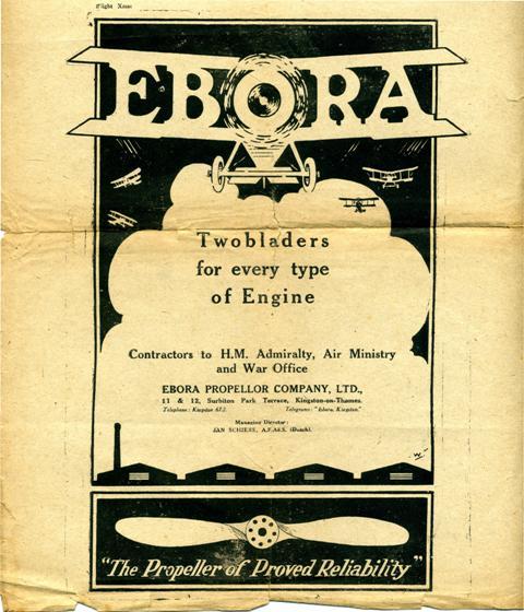 Advertentie Ebora Propellor Company