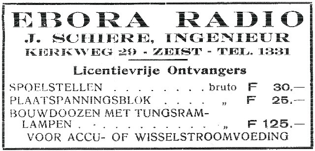 Advertentie Ebora Ontvangers