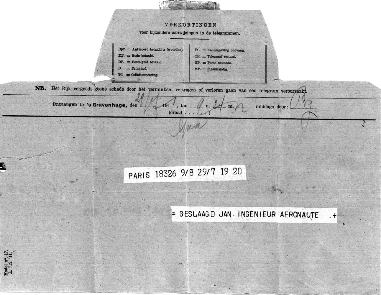 Telegram geslaagd Jan Schiere