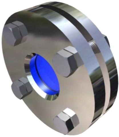 390V-DN100-1.4571-PTFE-BORO Schauglasarmatur für Vakuum Nennweite DN100