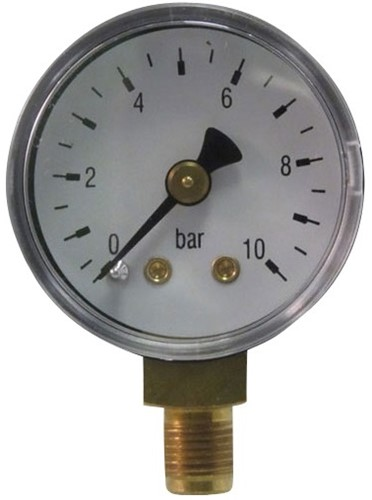 7011 RVS manometer met onderaansluiting