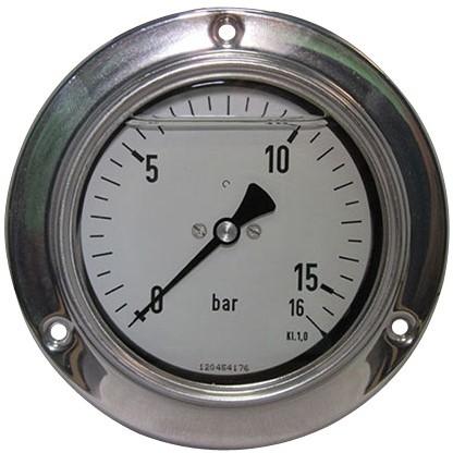 7216 RVS manometer Paneel- en wandmontage met messing binnenwerk