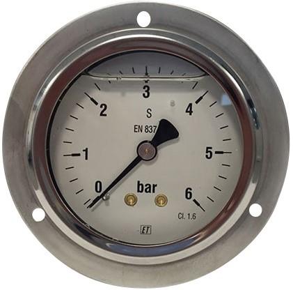 EB262016 MANOMETER 7216  63MM  0-16 Paneel- en wandmontage, rvs