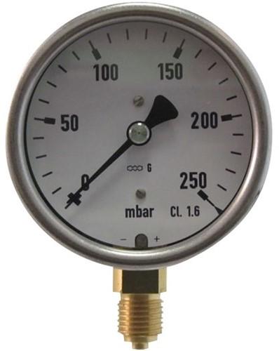 7811 Lagedruk manometer RVS met messing binnenwerk en onderaansluiting