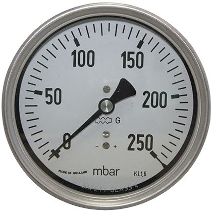 7814 Manometer lage druk RVS met achteraansluiting