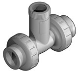 TFIF50D PVDF/FPM T-fitting d50, DN40 t.b.v. flowsensor L0