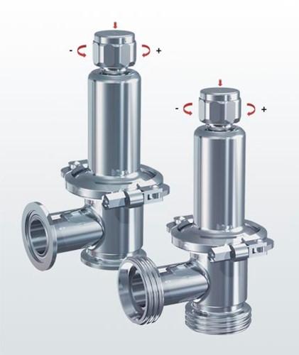 Overstroom- / drukregelventiel type 400.5 RVS, haaks met klemverbindingen en voedselaansluitingen