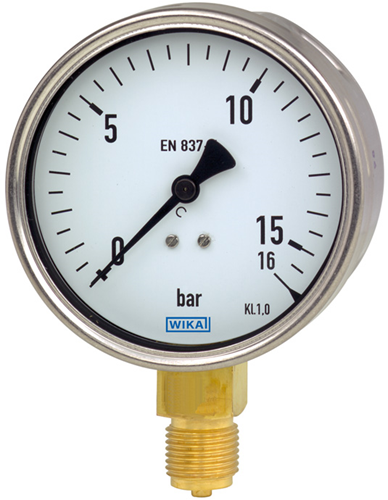 Wika Bourdon tube pressure gauge, copper alloy, Model 212.20