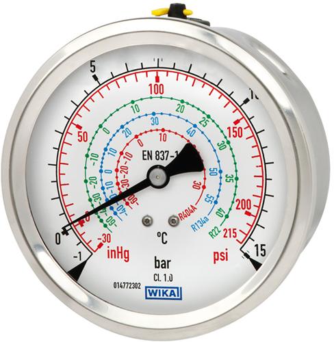 Wika Bourdon buis manometer, koperlegering of RVS Model 112.28 en 132.28