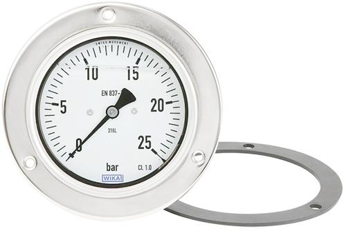 Wika Bourdon tube pressure gauge, stainless steel, Model PG23CP