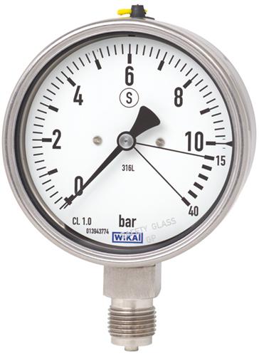 Wika Bourdon tube pressure gauge, stainless steel, Models 232.36
