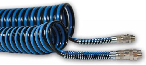 """PUR-DUO-spiraal 6 x 4 blauw/zwart werklengte 10,0m, 4143 Polyester-Polyurethan DUO-spiraalslang axiaal met  koppelingen 1/8"""""""""""