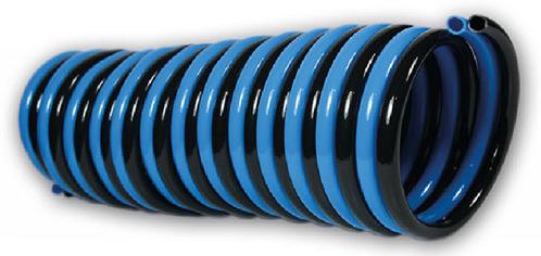 PUR-DUO-spiraal 10 x 8 blauw/zwart werklengte 10,0m, 4114 Polyester-Polyurethan DUO-spiraalslang radiaal