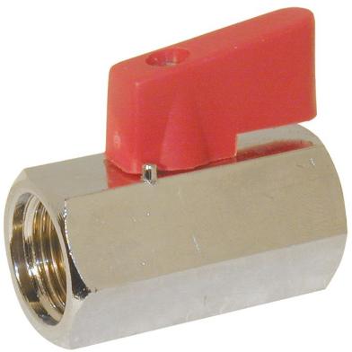 "EBBC111021 Mini-Kogelafsluiter 1/4"", Messing/PTFE-NBR"