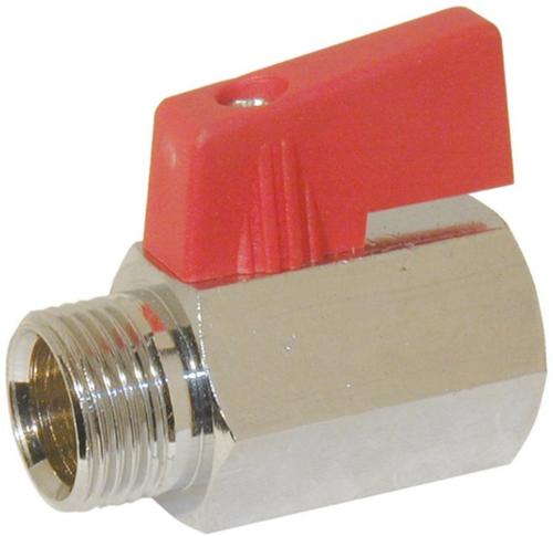 "EBBC111321 Mini-Kogelafsluiter 1/4"", Messing/PTFE-NBR"