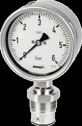 P-RCG100_U_MHRM21A_000 -1..9 RVS manometer 100mm met EHEDG PZM onderaansluiting -1..9 bar