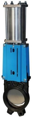 EBWGE-GG-PTFE-100/PD Plaatafsluiter, GG25/PTFE, DN100, PN10, pneumatisch bediend dubbelwerkend