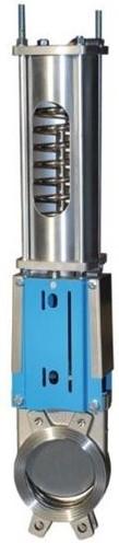 WGE-SS-EPDM-100/PSNC + WGS-LP-100 Plaatafsluiter pneumatisch bediend veersluitend, RVS/EPDM, DN100, PN10 monodirectioneel