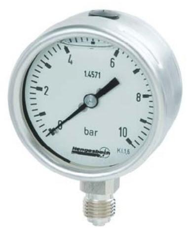 Hengesbach Buisveermanometer EN 837-1, 63/100/160 mm Versie voor chemische toepassingen - Type RC ...-