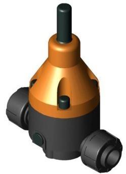 146367 PVC-U Drukhoudventiel DHV712R d20 PN10 PTFE/FPM 0,3-10 bar Sok