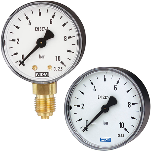Wika Bourdon buis manometer, koperlegering Model 111.10, 111.12