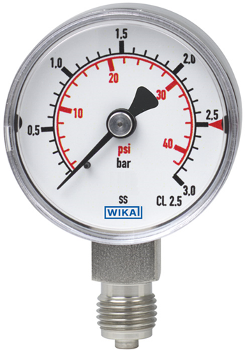 Wika Bourdon tube pressure gauge, stainless steel Model 131.11