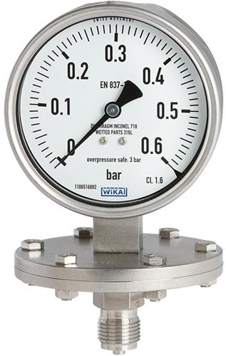 Wika Manometer met scheidingsmembraan Model 432.50, 433.50