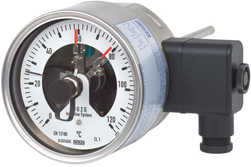 Wika Model 55-8xx Bimetal thermometer with switch contacts