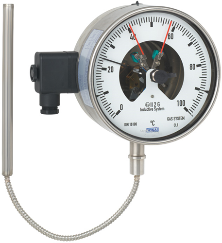 Wika Model 73-8xx Gas-actuated thermometer with switch contacts