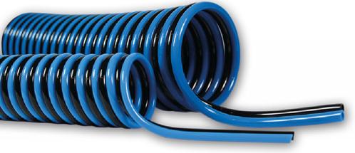 PUR-DUO-spiraal 8 x 6 blauw/zwart werklengte 2,5m, 4109 Polyester-Polyurethan DUO-spiraalslang axiaal