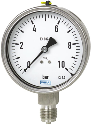Wika Bourdon tube pressure gauge, Stainless steel 'Safety'