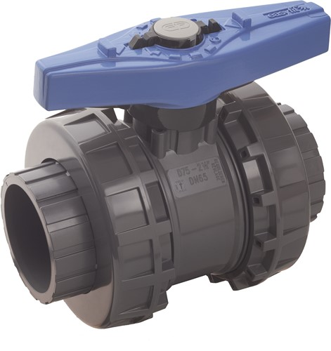 VEEIV075E PVC 2-weg water kogelkraan VEEIV EPDM  lijmmof d75
