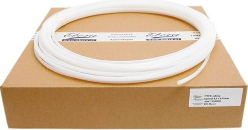 PTFE slang 12 x 10 x 1mm naturel/m PTFE luchtslang naturel op rol
