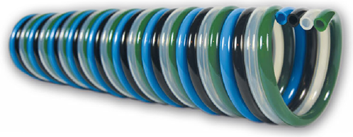 PUR-QUADRO-spiraal 6 x 4 blauw/zwart/naturel/groen werklengte 2,5m, 4225 Polyester-Polyurethan QUADRO-spiraalslang radiaal