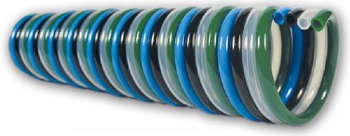 PUR-QUADRO-spiraal 8 x 6 blauw/zwart/naturel/groen werklengte 5,0m, 4231 Polyester-Polyurethan QUADRO-spiraalslang radiaal