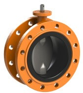EVFS DN100 bare shaft+3.2 LRS Double flanged butterfly valve Size: DN100; PN10/16