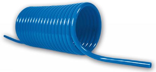 PUR-spiraal 8 x 6 mm blauw werklengte 10,0m, 4575 Polyester-Polyurethan spiraalslang axiaal