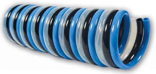PUR-TRIO-spiraal 8 x 6 blauw/zwart/naturel werklengte 5,0m, 4207 Polyester-Polyurethan TRIO-spiraalslang radiaal